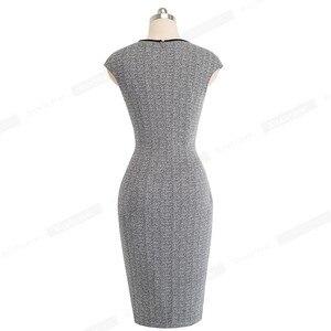 Image 2 - Güzel sonsuza kadar Vintage optik Illusion çalışmak vestidos Bodycon kılıf kadın ofis iş parti zarif elbise B458