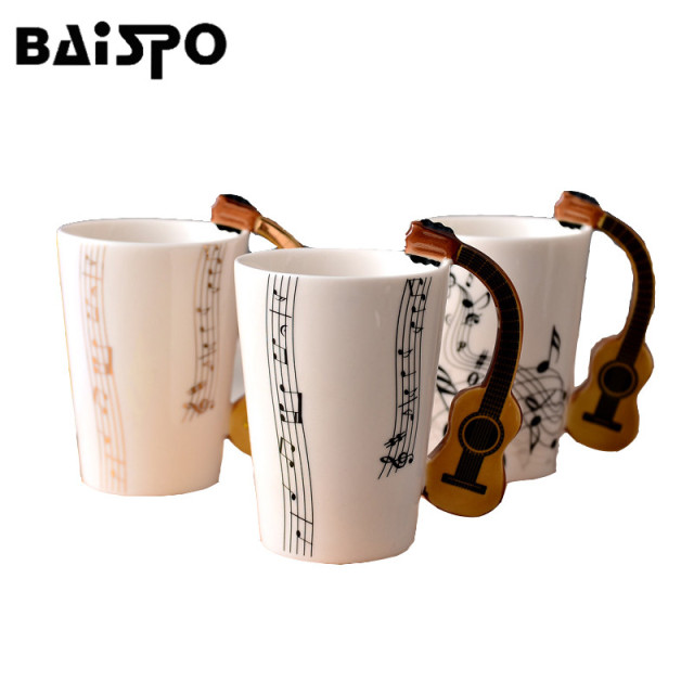 BAISPO Personality Music Mug Novelty Guitar Ceramic Cup  Milk Juice Lemon Mug Coffee Tea Home Office Drinkware  Gift Mug
