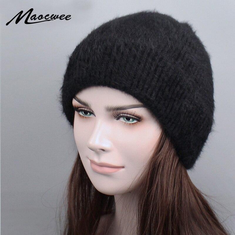 Nuevas mujeres del invierno sombrero hecho Punto de lana Angora Skullies  Simple y elegante visón Ski 15230d58c64