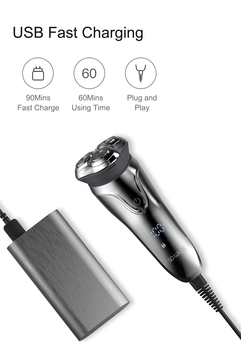Xiaomi Soocas SO WHITE Electric Razor Shaver For Men With USB Rechargeable And 3D Smart Control 14