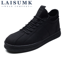 2019 LAISUMK Mens Shoes Flock Leather Thick Bottom Handmade Loafers Fashion Designer Casual for Man Footwear