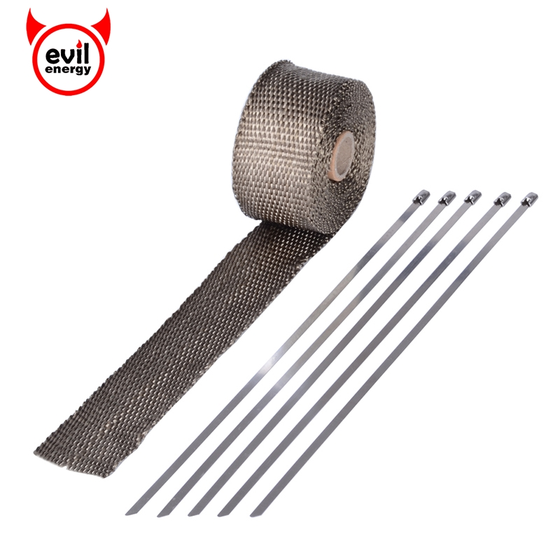 evil energy 16 Feet*2 Inch Exhaust Wrap Brown Basalt Turbo Manifold Heat Heater Wrap+5pcs Stainless Zip Ties For Car Motorcycle