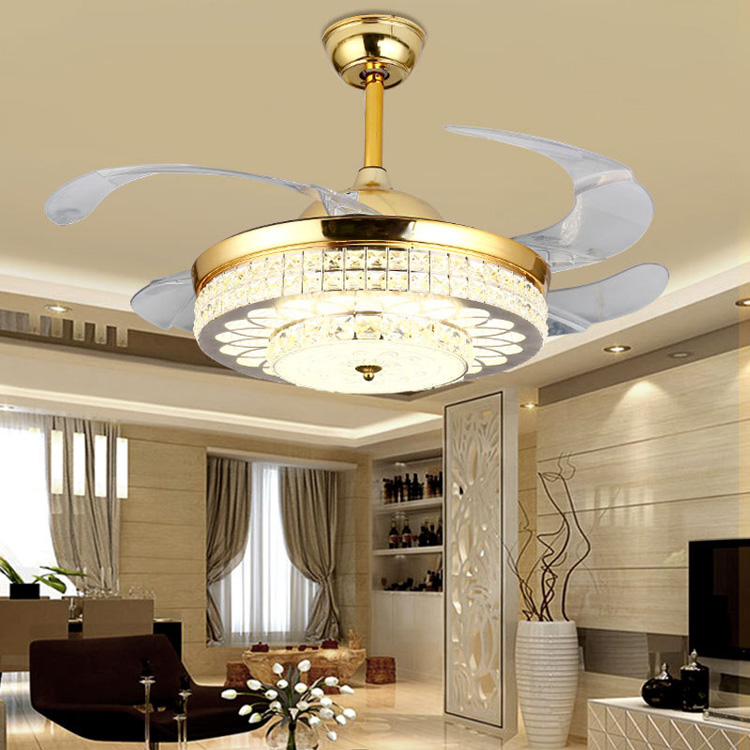 Modern led luxury ceiling fan light 42 inch invisible fans with lights and remote control for Bedroom ceiling fans with lights and remote