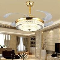 Moderno led de luxo ventilador teto luz 42 Polegada fãs invisíveis com luzes e controle remoto quarto dobrável ventilador teto lâmpada Ventiladores de teto Luzes e Iluminação -