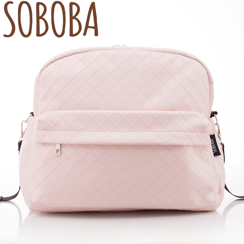 Soboba Fashionable Plaid Pink Diaper Bag for Mommies Large Capacity Well-organized Space Maternity Backpack for Strollers fashionable fulled rhombus plaid pattern fringed scarf for men