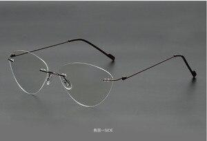 Image 5 - Cat eye titanium không có vành kính Đọc Sách Siêu ánh sáng phụ nữ hợp kim không Có Vành Kính đọc sách presbyopic Kính + 0.50 đến + 6.00
