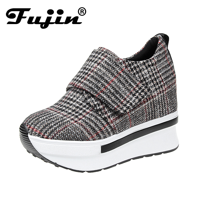 2018 Fujin New Arrival Spring Autumn Winter Women Wedge Platform Lace Up High heel Shoes casual shoes Lady Shoes