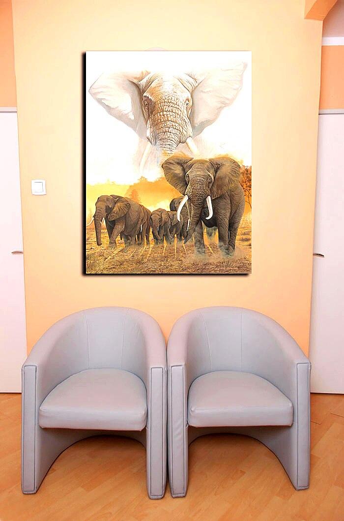 African Elephant Group Animal Painting Modern Artwork Canvas Print ...