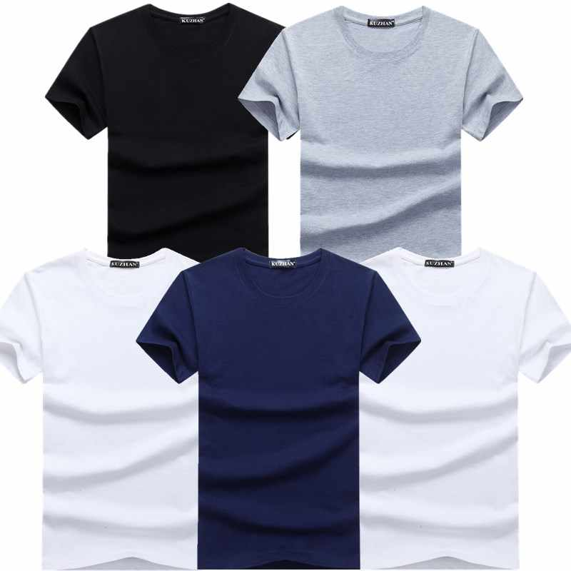 TEXIWAS 5 piezas Hot 2018 nueva marca de moda cuello redondo Slim manga corta Camiseta Hombre tendencia Casual Hombre camiseta coreana T camisas 4XL 5X