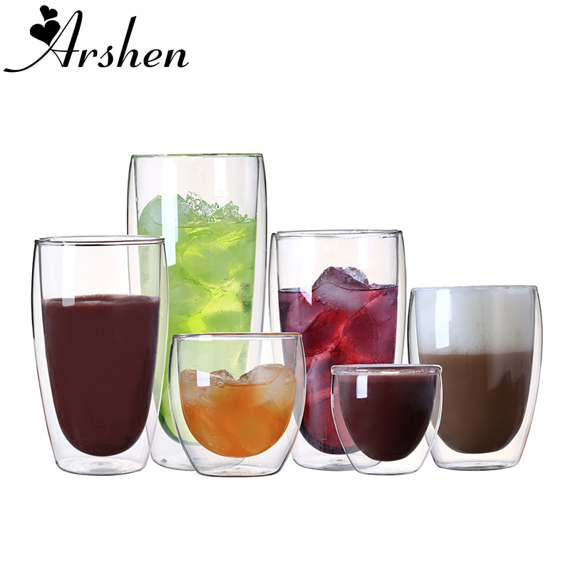 Arshen Clear Mug Drink-Cups Coffee-Cup Glass Handmade Double-Wall-Shot Heat-Resistant title=