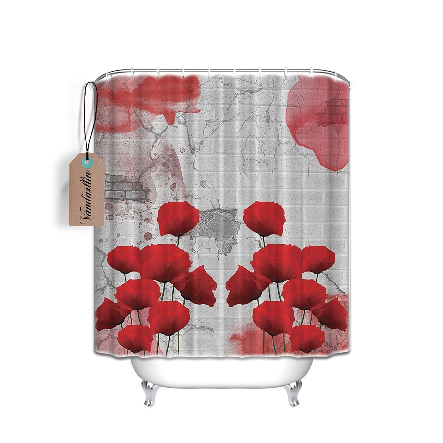Red Poppy Flower and Bricks Abstract Art Polyester Fabric Shower
