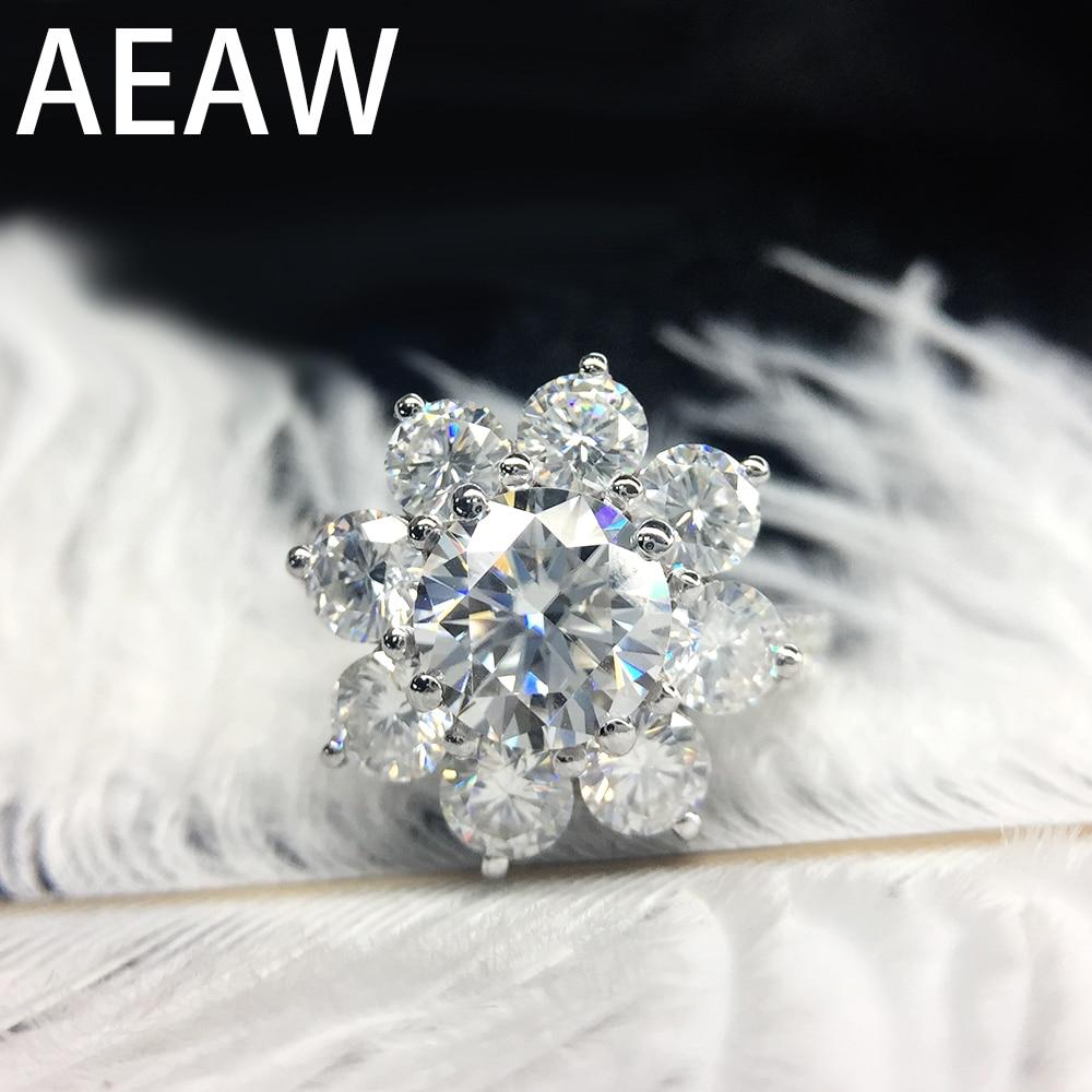AEAW 14 K oro blanco 2.5ctw EF Moissanite anillo de compromiso laboratorio crecido diamante anillo flor anillo para las mujeres