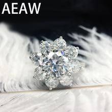 AEAW 14K EF 2.5ctw Lab Grown Moissanite Anel de Noivado de Ouro Branco Anel de Flor de Diamante Para As Mulheres