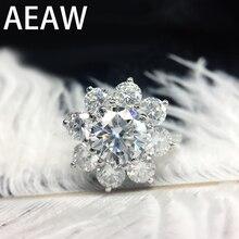 AEAW 14K White Gold 2.5ctw EF Moissanite Engagement Ring Lab Grown Diamond Flower Ring For Women