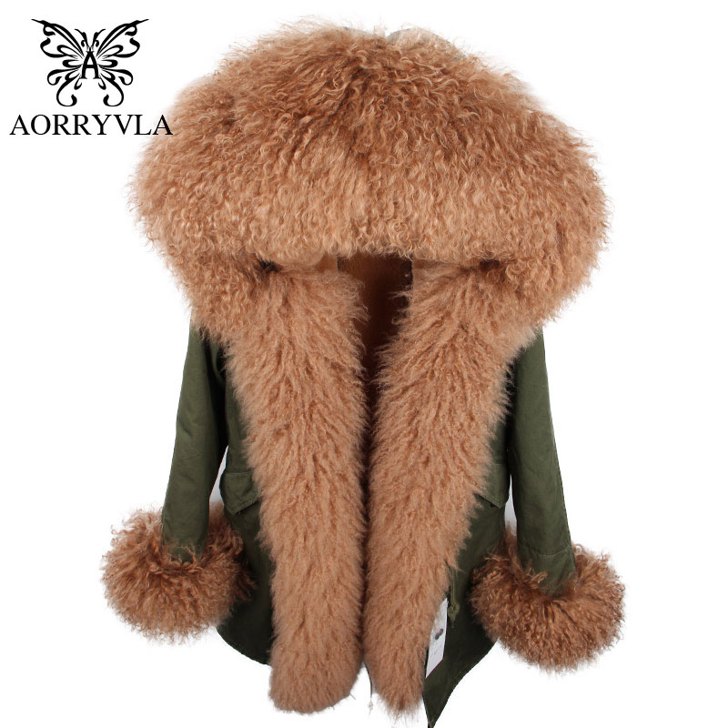AORRYVLA Brand Woman Winter Coats 2018 Real Fur   Parka   Long Natural Sheep Fur Collar Hooded Thick Warm Ladies Winter Coat