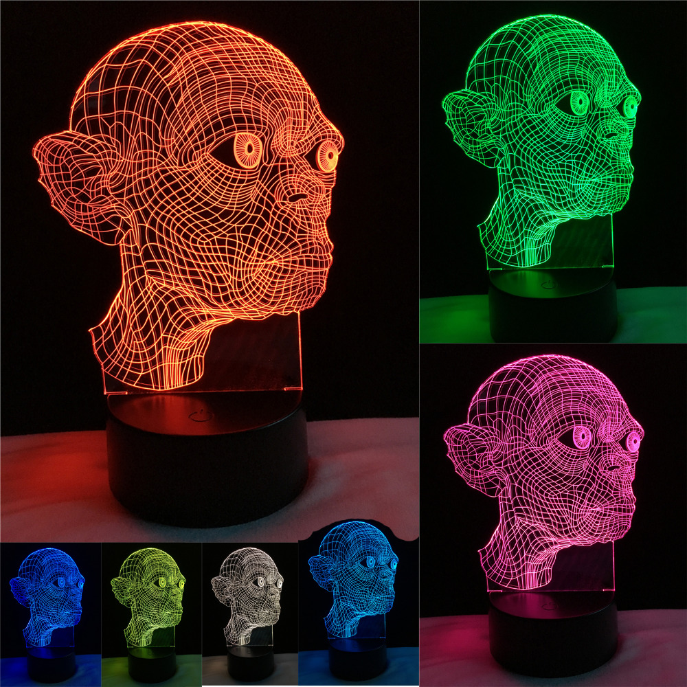 Novelty Magical 3D Gollum The Lord of the Rings Smeagol The Hobbit Trahald Night Light 7 Color Gradient Child Holiday Xmas Gifts lord of light