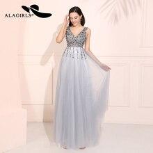 Alagirls Sexy V Neck Prom Dresses 2019 Grey Beading Evening Dress Vestido de fiesta A Line  Formal Party Robes bal