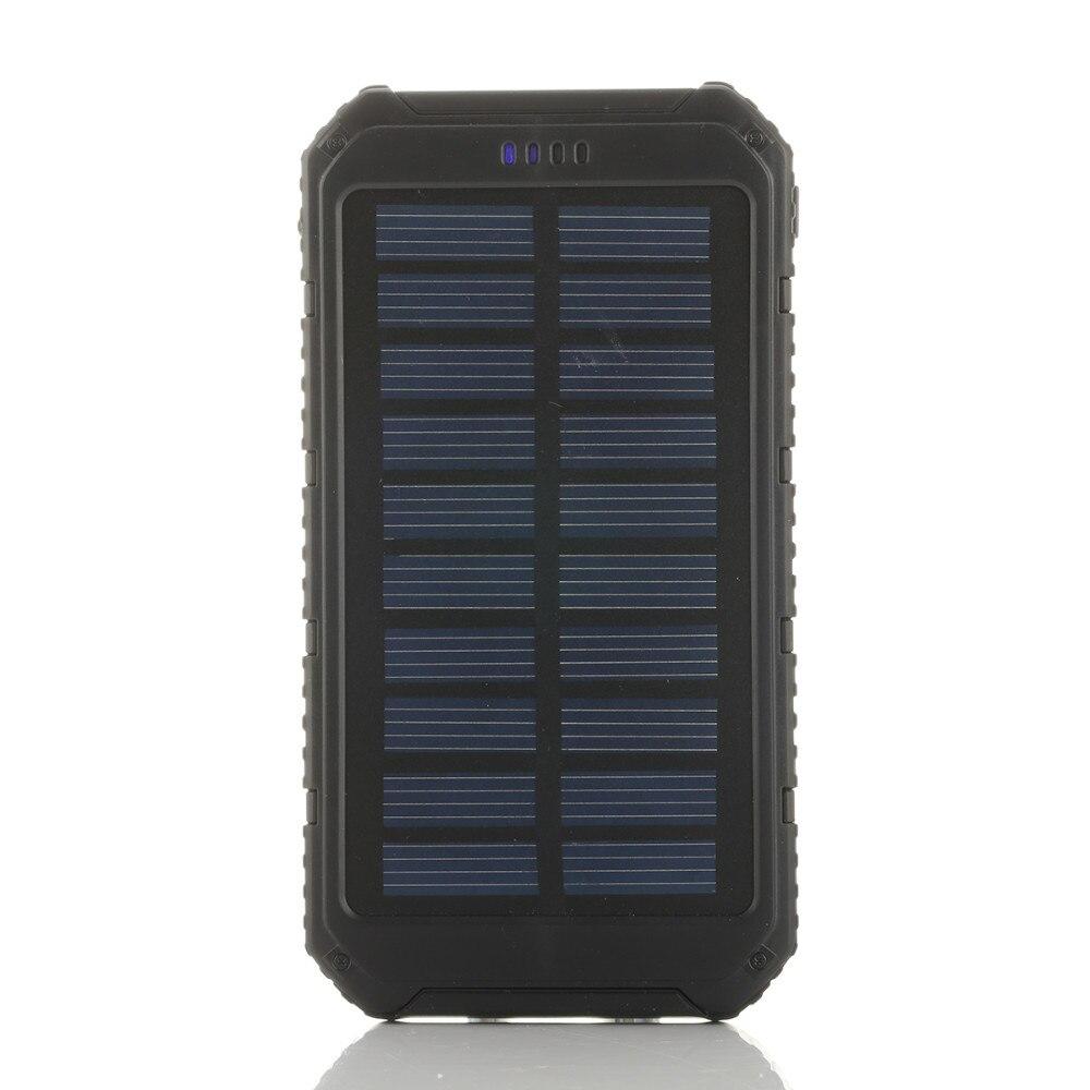 Banco de la energía 20000 mAh Portable Solar Powerbank Extreme caja de la batería del teléfono móvil cargador Dual del USB para vivo batería externa