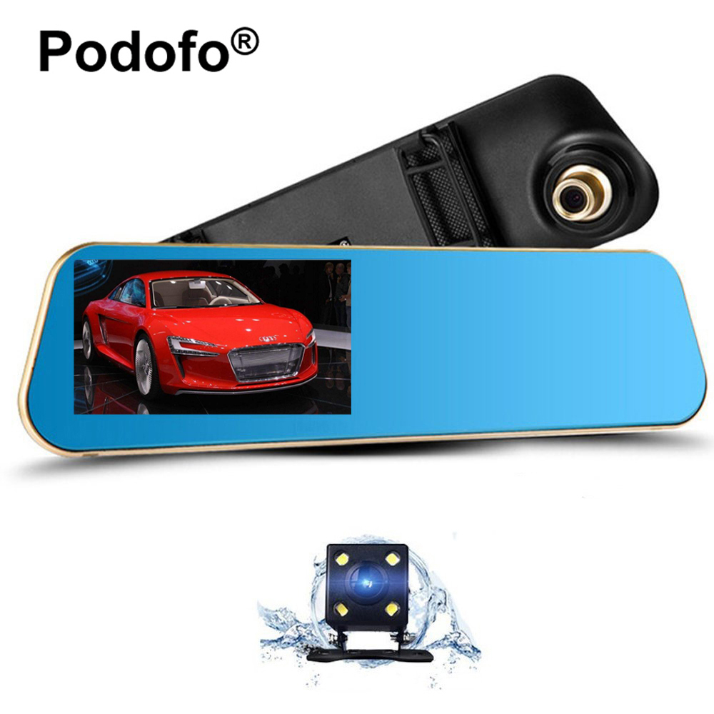 Podofo 4.3 дюймов автомобиля зеркало заднего вида тире-камеры Автомобильный видеорегистратор Регистратор видеокамера автомобильный видеорегистратор с двумя объективами камеры автомобиля Видеорегистраторы