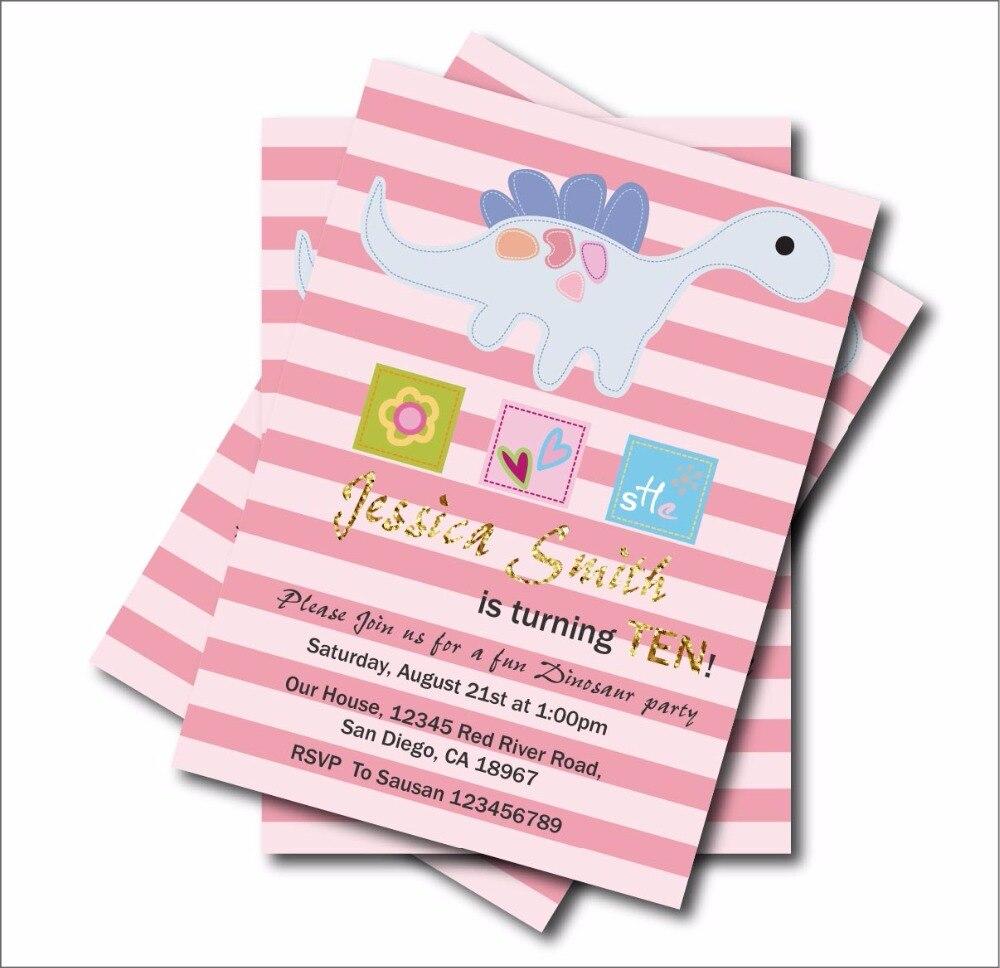 20 pcs/lot Custom Cute Dinosaur Birthday Invitations Girls Baby ...