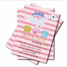 14 Pcs Lot Custom Cute Dinosaur Birthday Invitations Girls Baby Shower Invites Party Decoration Supplier Free Shipping In Cards From