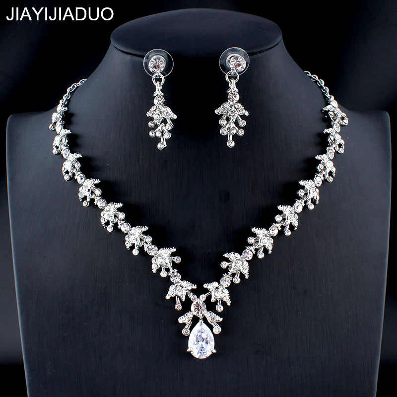 jiayijiaduo Women's Wedding Jewelry Set Silver/Gold Color Refined Zircon Drops Necklace Earrings Set Girl Dating Accessories 32