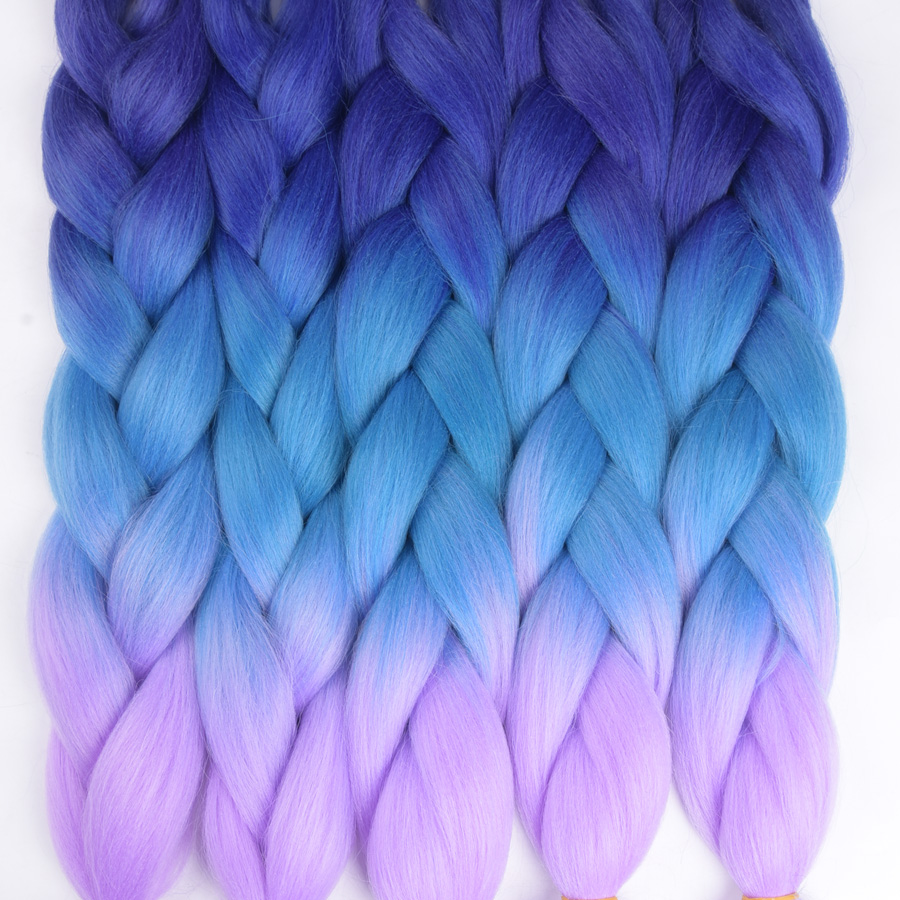 AliRobam Three/Two Tone Colored Crochet Braids Kanekalon Hair 24 60cm 100g/pc Synthetic  ...