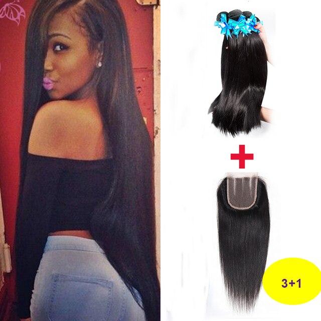 Peruvian Virgin Hair Straight With Closure Grade 7A Unprocessed Virgin Hair 3 Bundles with Closure Virgin Human Hair Extensions