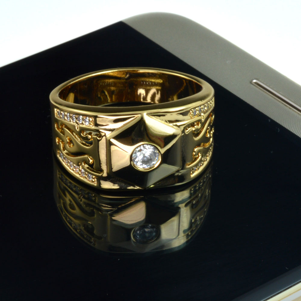 Men Gold filled wedding engagement ring band (R285) Size 8 9 10 11 12 13 14 15