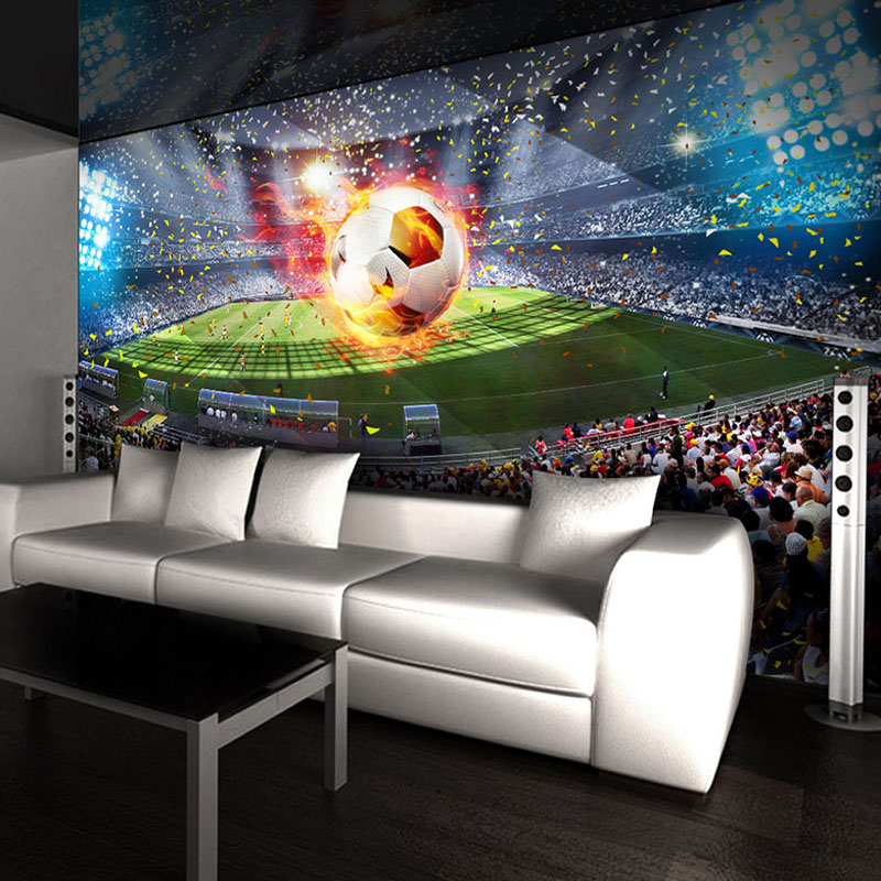 Custom Photo Wallpaper 3D Stereoscopic Football Field Soccer Large Murals Wallpaper Wall Painting Bedroom Living Room Home Decor
