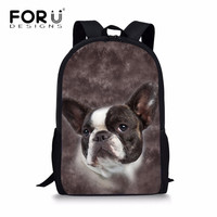 FORUDESIGNS Animal 3D Pug Dog Wolf Elephant Lion Dinosaur Children School Bags Casual Shoulder Book Backpack