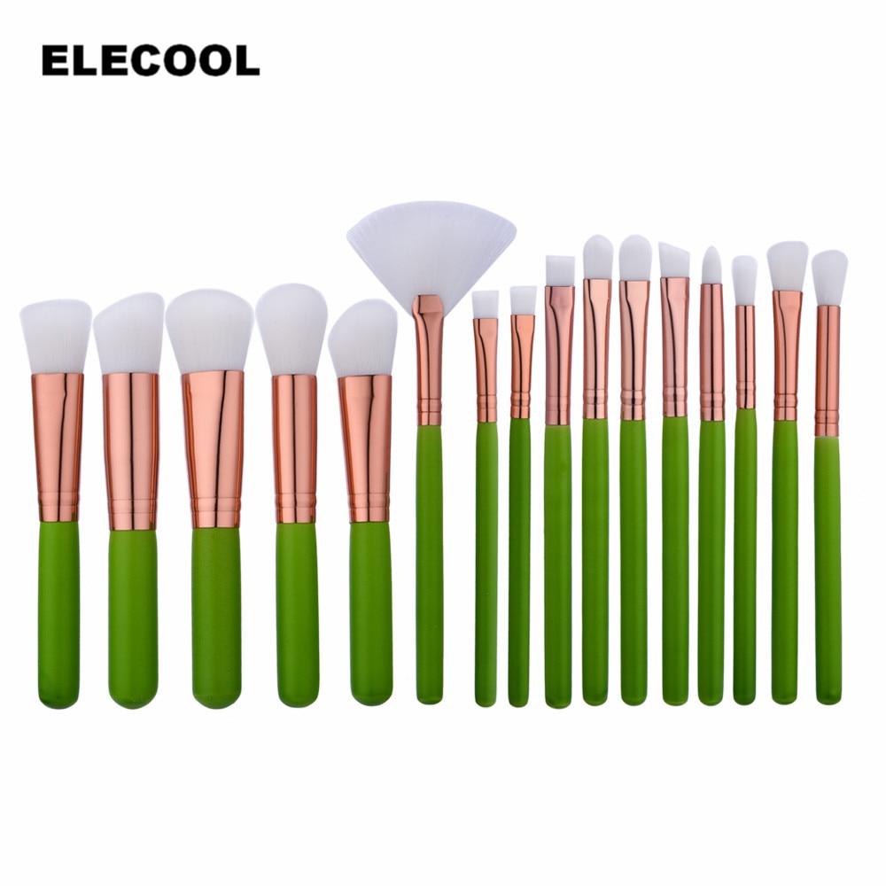 ELECOOL 16 PCS Green Wooden Handle Makeup Brushes Set Foundation Brush White Hair Makeup Brush Kit Eye Shadow Powder Blusher elecool 32 pcs makeup brush set soft