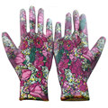 NMSafety 3 Pairs Lady Gardening Gloves With 13 Gauge Flower Print Polyester Liner Coated PU Palm.