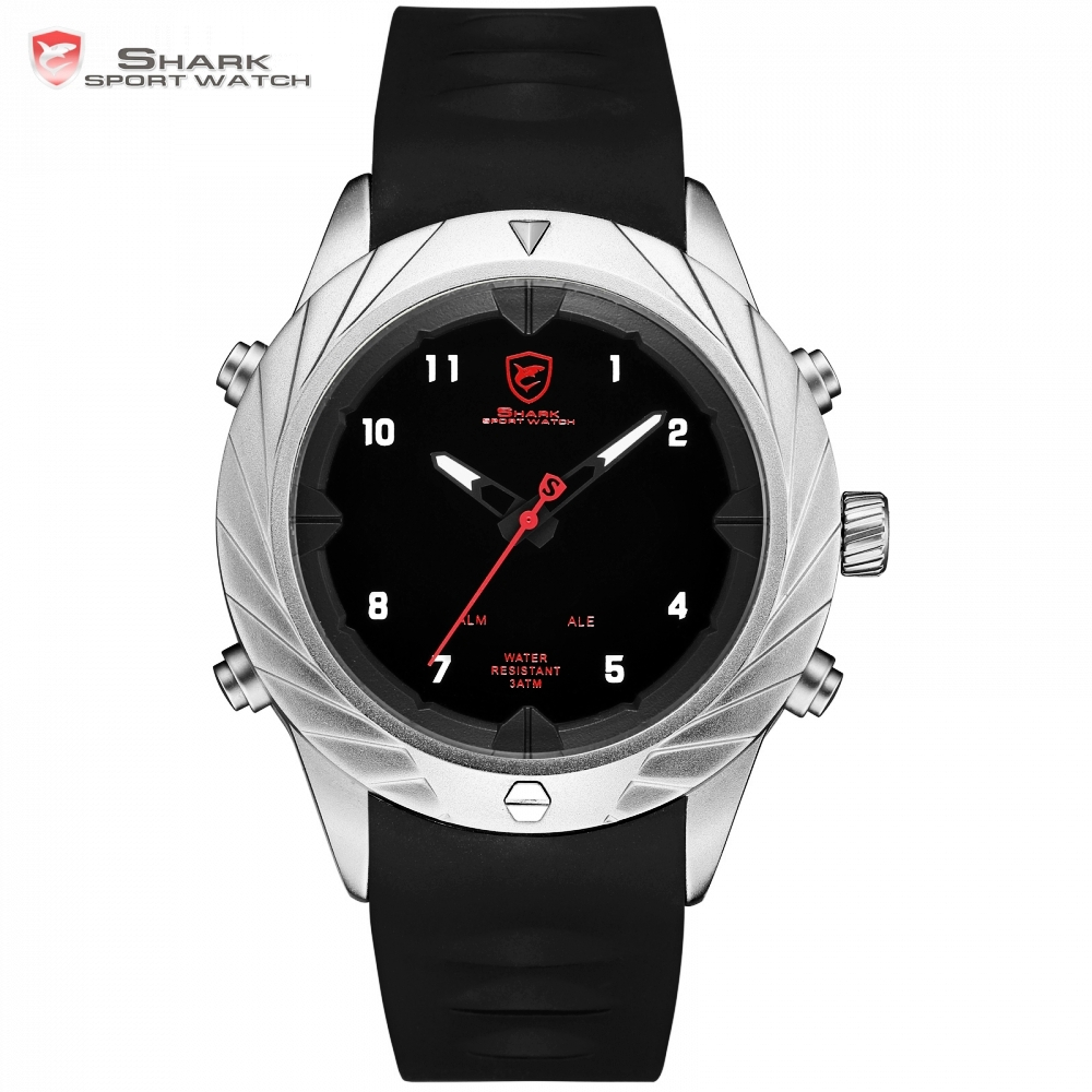 Graceful Shark Sport Watch Analog Digital Display Black Watches LED Alarm Clock relogio masculino Business Men Wristwatch /SH581
