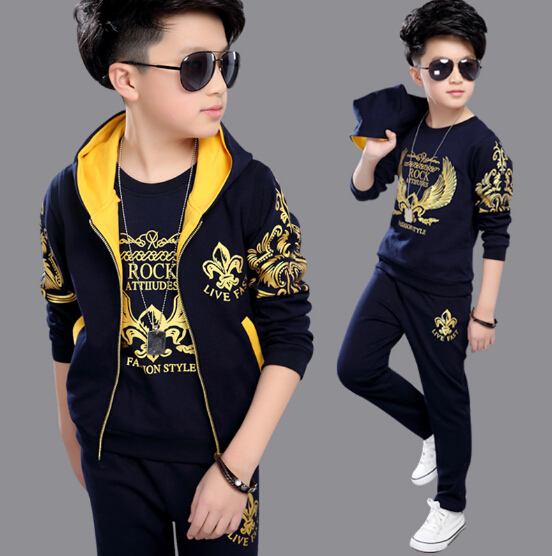 3-12 Years children's sports suit boys children big boys suit Tracksuit Spring clothes Jacket + Trousers+T-shirt 3pcs Sets 2016 summer boys short sleeved t shirt two piece children s sports suit camouflage uniforms boys