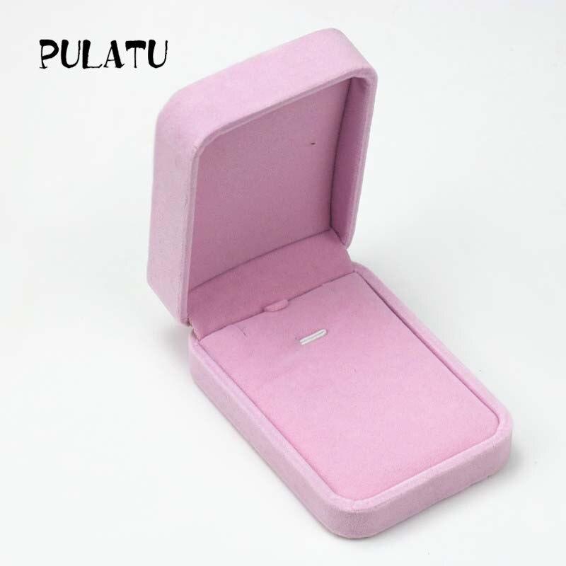 Pink Color Rectangle shape Velvet Jewelry Box Bracelet Anklets Necklace Display Gift Boxes