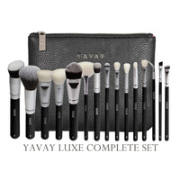 YAVAY 15 Pcs LUXE Complete Makeup Brushes Set Professional Luxury Set Make Up Tools Kit Powder Blending Brushes Y15C
