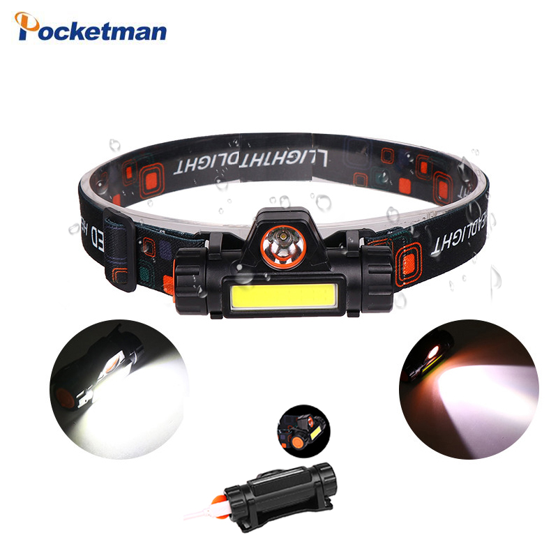 Bright Portable  LED Headlamp XPE+COB LED Headlight Head Lamp Flashlight Torch Lanterna Head Light Built-in Battery Emergency