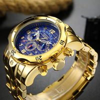 Temeite Chronograph Watches Men Luxury Golden Quartz Wristwatch Man 24hours Stainless Steel Male Clock Large Relogio Masculino