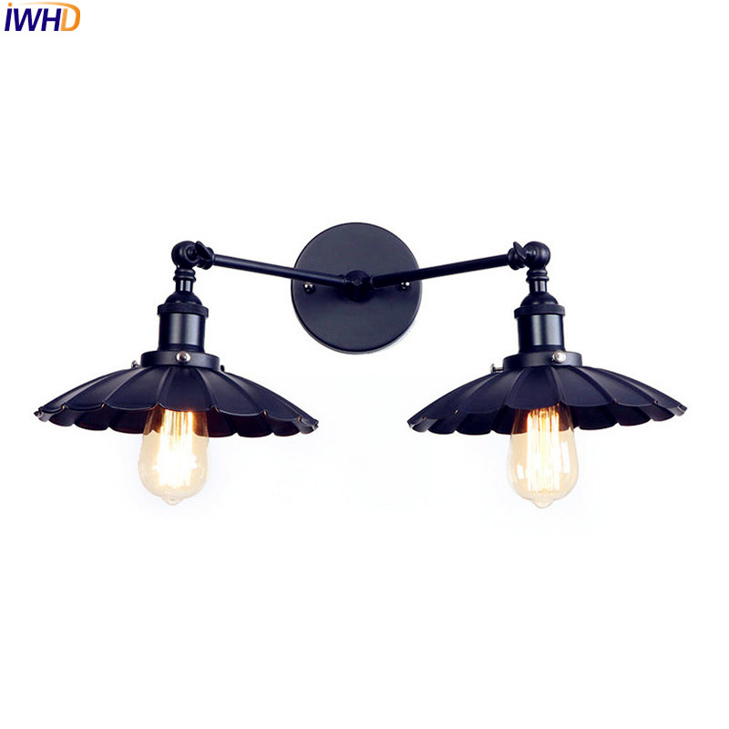 IWHD 2 Heads Black Retro LED Wall Light Fixtures Home Lighting Iron Metal Loft Industrial Vintage Wall Sconce Lamp Lampara Pared loft style iron edison wall sconce industrial lamp wheels vintage wall light fixtures antique indoor lighting lampara pared