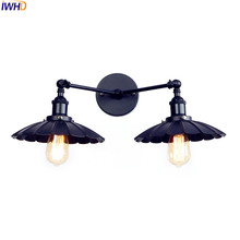 IWHD 2 Heads Black Retro LED Wall Light Fixtures Home Lighting Iron Metal Loft Industrial Vintage Wall Sconce Lamp Lampara Pared iwhd vintage glass lampara pared creativeretro iron loft wall lamp black bedroom lighting stairs beside reading light fixture
