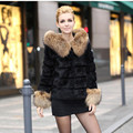 2015 Lady Natural Real Rabbit Fur Jacket Coats with Raccoon Fur Hooded Winter Women Fur Outerwear Coats Female Overcoat VK0210