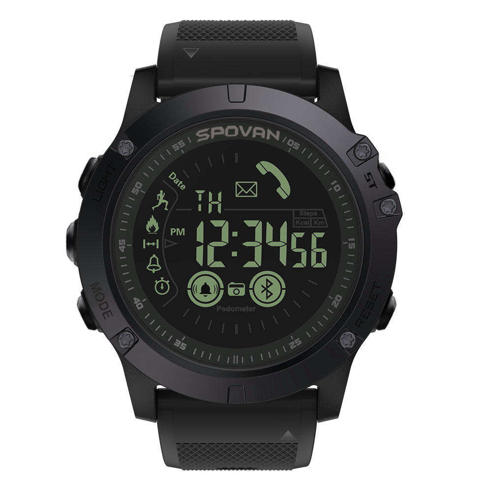 SPOVAN RPR1 Men Sport Watch Led Display Sport Digital Watch With EL Back Light, Bluetooth Reminder, Remote photography,Alarm