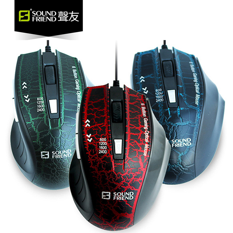 Gaming Mice Ergonomics-Receiver Desktop Mouse 6-Buttons Wired-Mouse-1600dpi Optical-Computer