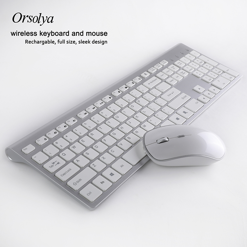 2.4G Wireless Keyboard And  Mouse Combo,Orsolya Rechargeable Quiet Full-size For Computer Notebook Desktop PC,Mute Silver+white