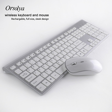 2.4G Wireless Keyboard and  Mouse Combo Orsolya  Rechargeable Whisper-quiet Full-size For Notebook and Desktop PC,Low noise logitech media combo mk200 full size keyboard and high definition optical mouse