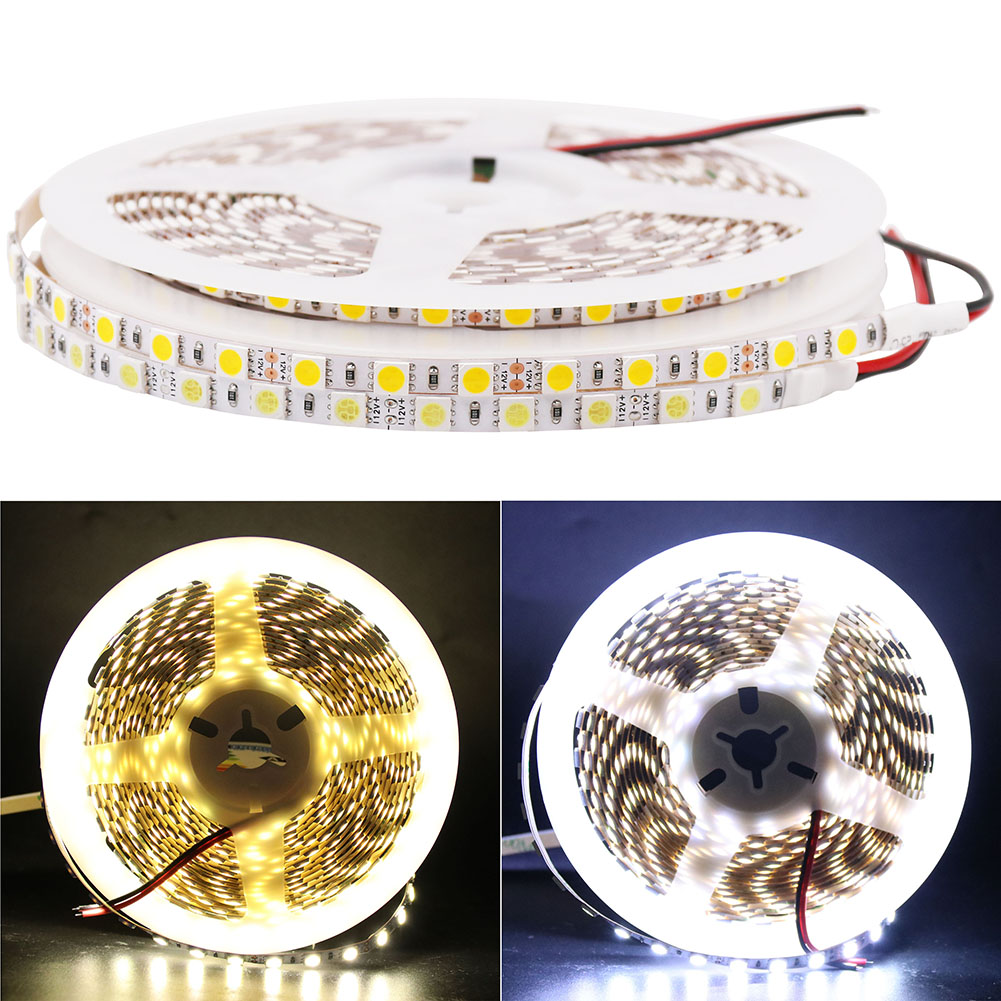 цена на Super bright DC 12V 5M Flexible 5050 SMD 5mm Wide Fita LED Strip Light 84leds/m Ribbon Tape Lamp White Warm White for Christmas