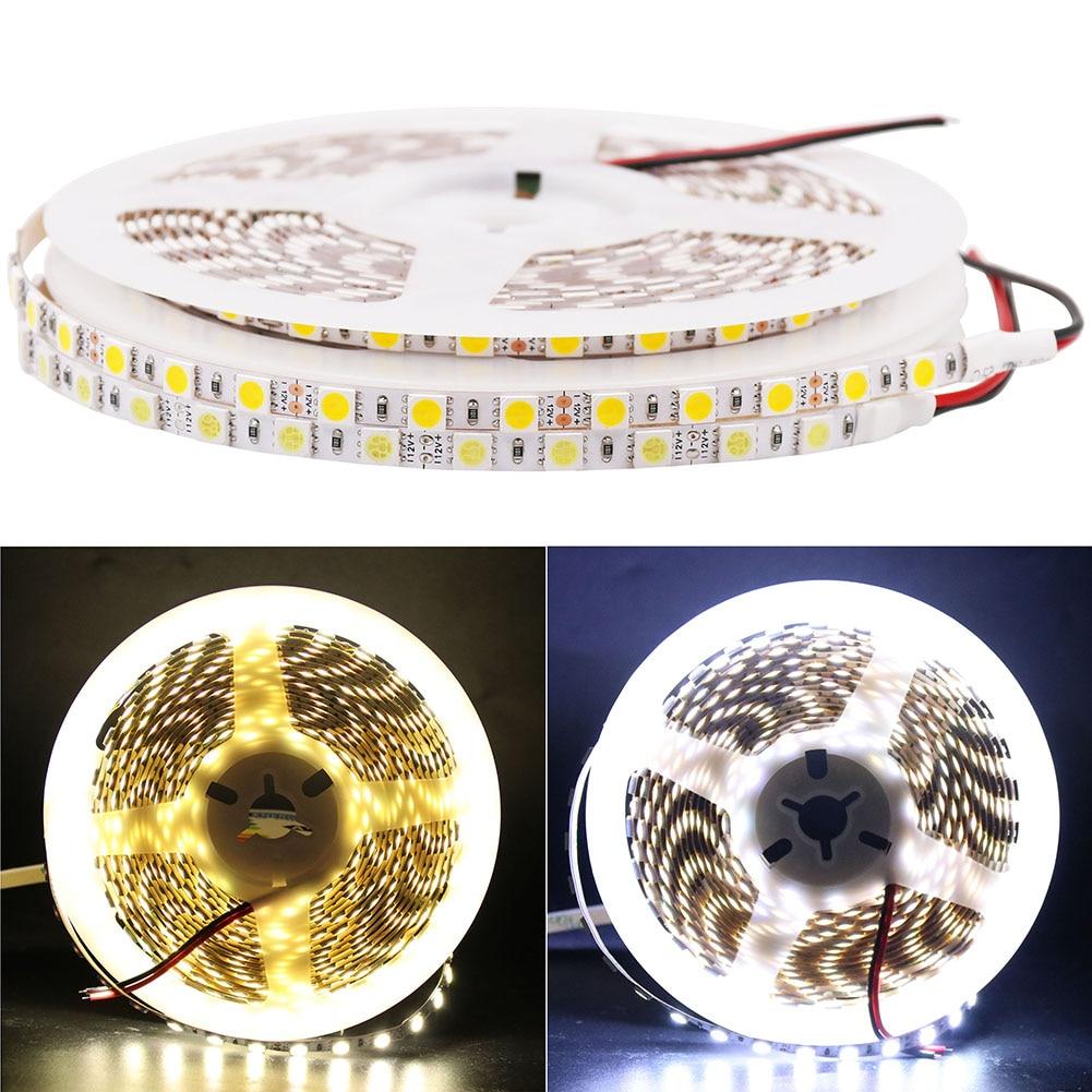 все цены на Super bright DC 12V 5M Flexible 5050 SMD 5mm Wide Fita LED Strip Light 84leds/m Ribbon Tape Lamp White Warm White for Christmas онлайн