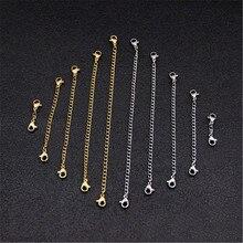 5 шт., металлические цепочки-расширители из нержавеющей стали с застежками-омарами золотого цвета, удлинительная цепочка для ожерелья, аксессуары для ювелирных изделий Diy