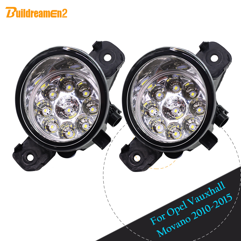 Buildreamen2 For Opel Vauxhall Movano 2010-2015 2 x Car LED Light Fog Light Blue White Yellow Daytime Running Light DRL H8 H11 for opel astra h gtc 2005 15 h11 wiring harness sockets wire connector switch 2 fog lights drl front bumper 5d lens led lamp